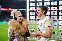 Sarah Hunter of England is interviewed after the match - Mandatory byline: Patrick Khachfe/JMP - 07966 386802 - 26/11/2016 - RUGBY UNION - Twickenham Stadium - London, England - England Women v Canada Women - Old Mutual Wealth Series.