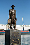 Statue honoring successful businessman Juan Jose Venta called The Immigrant along the Malecon in the historic center of the city of Veracruz, Mexico.