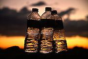 Plastic water bottles are left in the Sonoran Desert, Gates Pass, Tucson, Arizona, USA.