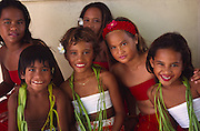 Polynesian girls, Mataiva, Tuamotus, French Polynesia (editorial use only, not model released)<br />