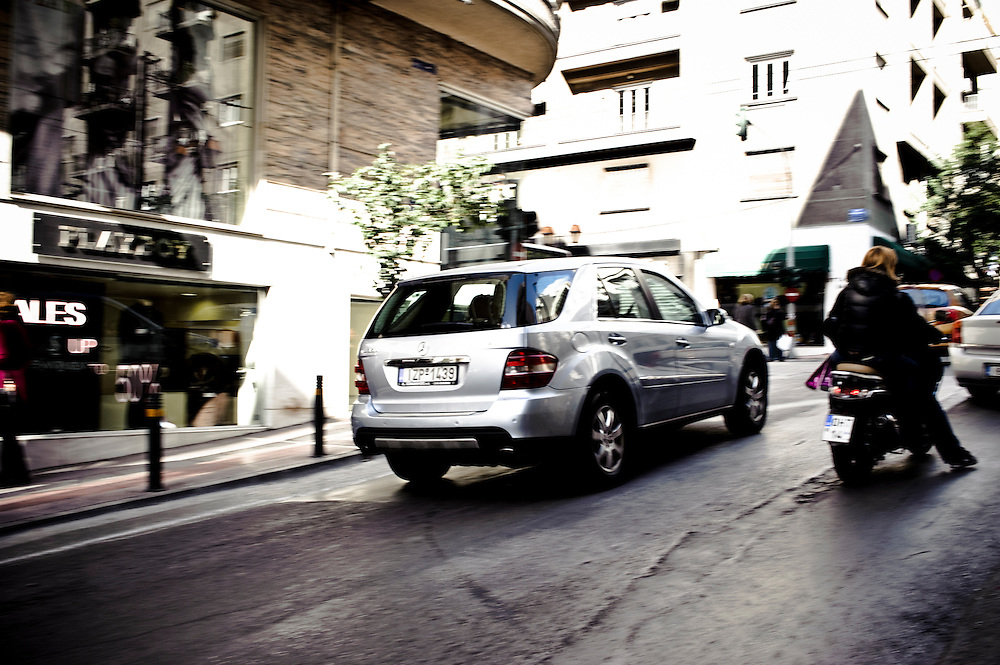 A luxury Mercedes car in the city center, Athens, Greece.