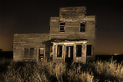 Old general store at night, Bents, Saskatchewan, Canada