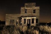 Old general store at night, Bents, Saskatchewan, Canada