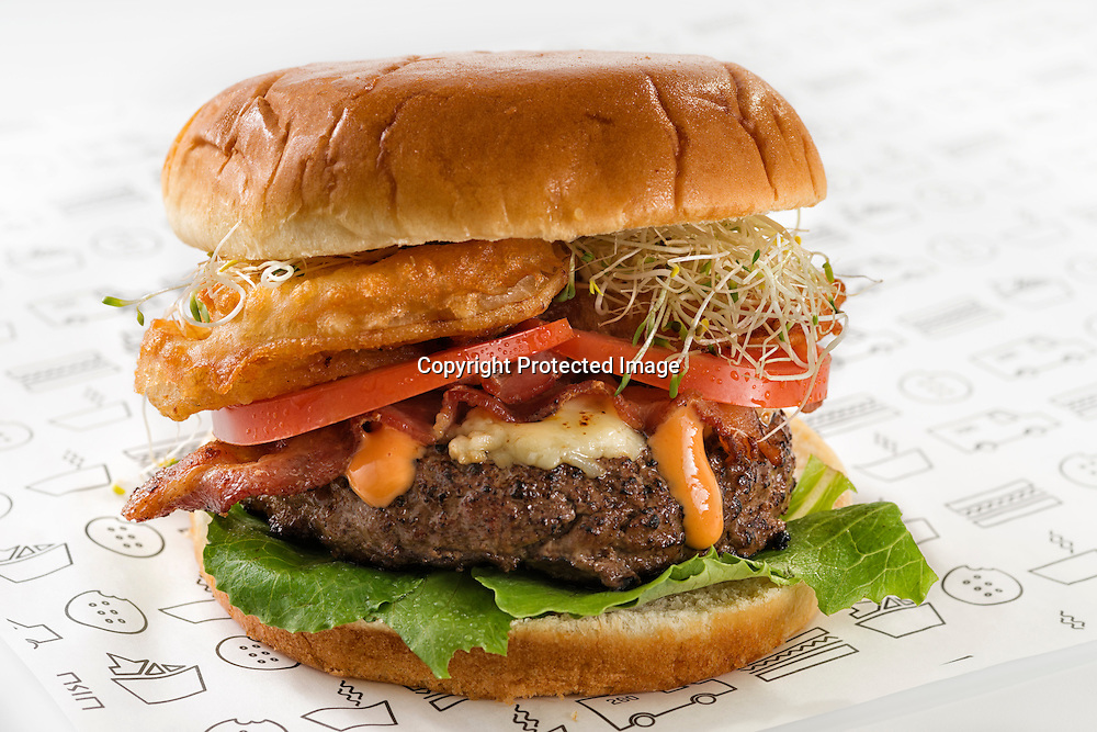 "Gourmet bacon burger with soy sprouts,tomato,onion rings,cheese,lettuce and ""Chipotle dressing"""