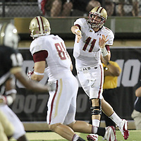Boston College quarterback Chase Rettig (11) passes the ball during an NCAA football game between the Boston College Eagles and the UCF Knights at Bright House Networks Stadium on Saturday, September 10, 2011 in Orlando, Florida. (AP Photo/Alex Menendez)