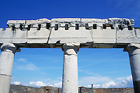 Columns against blue sky at ruins of Pompeii Italy