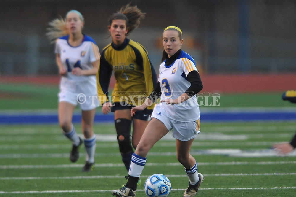 Oxford High's Zoe Scruggs (3) vs. Pearl in girls high school soccer in Oxford, Miss. on Wednesday, November 26, 2014. Oxford won 3-0.