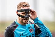 ALKMAAR - 27-07-2016, laatste training AZ voor Europese wedstrijd tegen Pas Giannina , AFAS Stadion, AZ speler Rens van Eijden met masker.