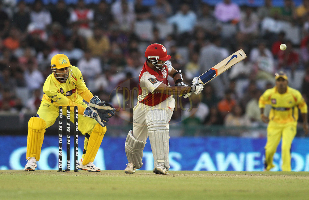 Paul Valthaty of the Kings XI Punjab flicks a delivery behind during match 9 of the Indian Premier League ( IPL ) Season 4 between the Kings XI Punjab and the Chennai Super Kings held at the PCA stadium in Mohali, Chandigarh, India on the 13th April 2011..Photo by Shaun Roy/BCCI/SPORTZPICS