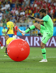 ROSTOV-ON-DON, June 17, 2018  Brazil's goalkeeper Alisson steps on a balloon during a group E match between Brazil and Switzerland at the 2018 FIFA World Cup in Rostov-on-Don, Russia, June 17, 2018. The match ended in a 1-1 draw. (Credit Image: © Li Ga/Xinhua via ZUMA Wire)