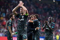 Chelsea's Cesc Fabregas, Gary Cahill, coach Antonio Conte and Cesar Azpilicueta celebrating the victory  during UEFA Champions League match between Atletico de Madrid and Chelsea at Wanda Metropolitano in Madrid, Spain September 27, 2017. (ALTERPHOTOS/Borja B.Hojas)