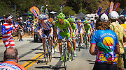 Professional cyclists and fans at the Amgen Tour of California, Santa Monica Mountains, California USA