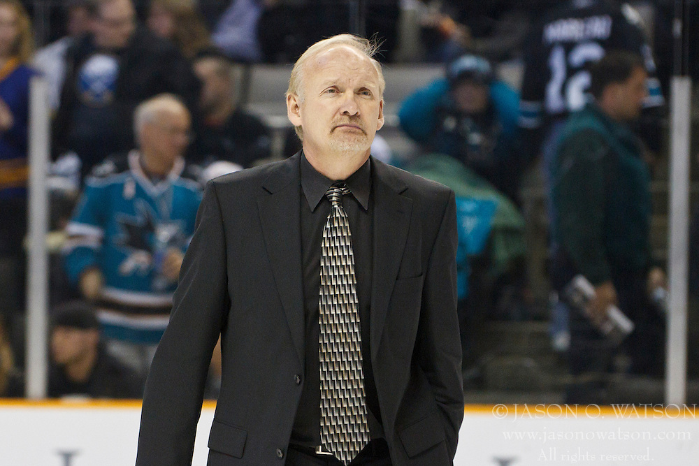 January 6, 2011; San Jose, CA, USA; Buffalo Sabres head coach Lindy Ruff leaves the ice after the second period against the San Jose Sharks at HP Pavilion. Mandatory Credit: Jason O. Watson / US PRESSWIRE