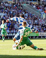 © Andrew Fosker / Richard Lane Photography 2010 -  Reading's Jobi McAnuff avoids Ryan Bennett's tackle to score their 3rd goal of a rampant 1st half   Reading v Peterborough - Coca-Cola Championship - 17/04/2010 - Madejski Stadium - Reading - UK.