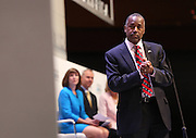Republican presidential candidate Dr. Ben Carson listens to a question at the Heritage Foundation Take Back America candidate forum September 18, 2015 in Greenville, South Carolina. The event features 11 presidential candidates but Trump unexpectedly cancelled at the last minute.