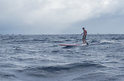 Will Taylor and Morgan Hoesterey competing at the 2016 Molokai to Oahu paddleboard race.