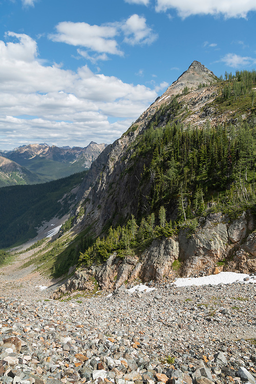 View of Pasayten Wilderness and upper section of Easy Pass trail  North Cascades Washington.