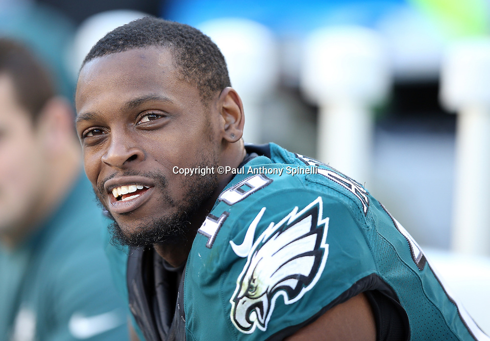 Philadelphia Eagles wide receiver Seyi Ajirotutu (16) smiles while sitting on the sideline bench during the 2015 week 10 regular season NFL football game against the Miami Dolphins on Sunday, Nov. 15, 2015 in Philadelphia. The Dolphins won the game 20-19. (©Paul Anthony Spinelli)
