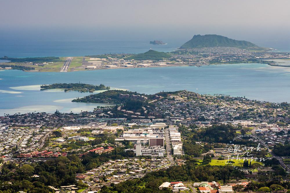 Kaneohe town and Kaneohe Bay, Oahu, Hawaii