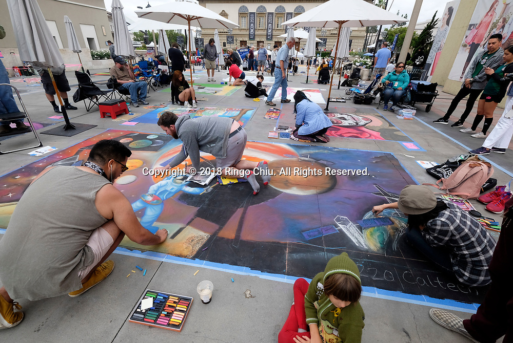26th annual Pasadena Chalk Festival held in Los Angeles<br /> <br /> Artists work on their pieces during during the 26th annual Pasadena Chalk Festival in Los Angeles, the United States, June 18, 2018. The Festival feature more than 600 artists using 25,000 sticks of pastel chalk to create life-size 200 murals on the city pavement.  (Xinhua/Zhao Hanrong)<br /> (Photo by Ringo Chiu)<br /> <br /> Usage Notes: This content is intended for editorial use only. For other uses, additional clearances may be required.