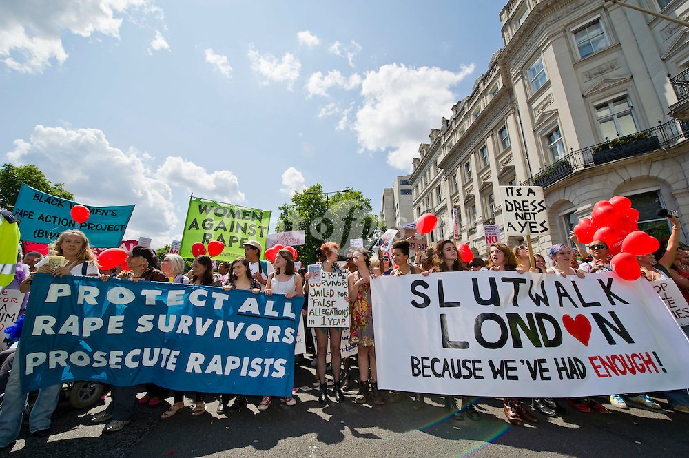 The London Slutwalk starts on Piccadilly and heads for Trafalgar Square. They are protesting for womens rights to dress however they like without fear of sexual assault.