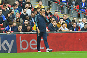 Chelsea manager Maurizio Sarri looks concerned during the Carabao Cup Final match between Chelsea and Manchester City at Wembley Stadium, London, England on 24 February 2019.
