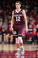 FAYETTEVILLE, AR - FEBRUARY 17:  Chris Collins #12 of the Texas A&M Aggies standing at mid court during a game against the Arkansas Razorbacks at Bud Walton Arena on February 17, 2018 in Fayetteville, Arkansas.  The Razorbacks defeated the Aggies 94-75.  (Photo by Wesley Hitt/Getty Images) *** Local Caption *** Chris Collins