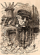Henry Fawcett (1833-1884, English politician and economist, born in Salisbury, Wiltshire. Postmaster-general (1880-1884) he introduced the parcel post in 1882. Blinded in a shooting accident in 1858.  Cartoon by Edward Linley Sambourne in the Punch's Fancy Portraits series from 'Punch' (London, 5 November 1881).