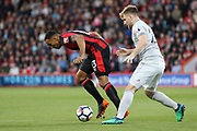Manchester United Defender Luke Shaw battles with Callum Wilson (13) of AFC Bournemouth during the Premier League match between Bournemouth and Manchester United at the Vitality Stadium, Bournemouth, England on 18 April 2018. Picture by Phil Duncan.
