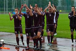 Team NK Triglav after winning football match between NK Triglav Kranj and ND Gorica, 7th Round of Prva Liga, on 26 August, 2012, in Sportni center, Kranj, Slovenia. (Photo by Grega Valancic / Sportida)