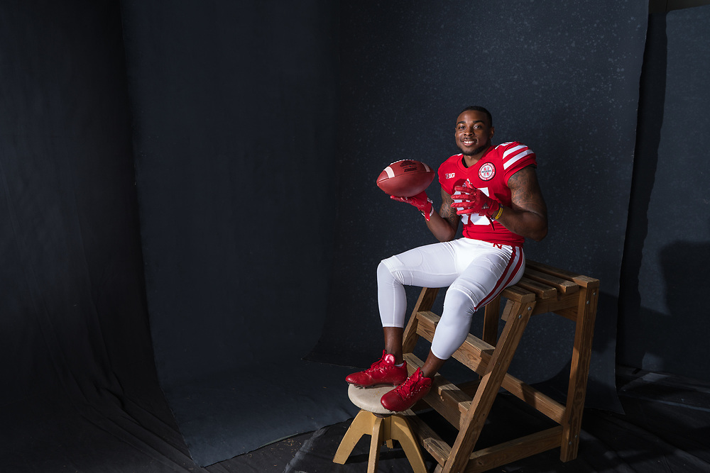 De'Mornay Pierson-El #15, during a portrait session at Memorial Stadium in Lincoln, Neb. on June 7, 2017. Photo by Paul Bellinger, Hail Varsity