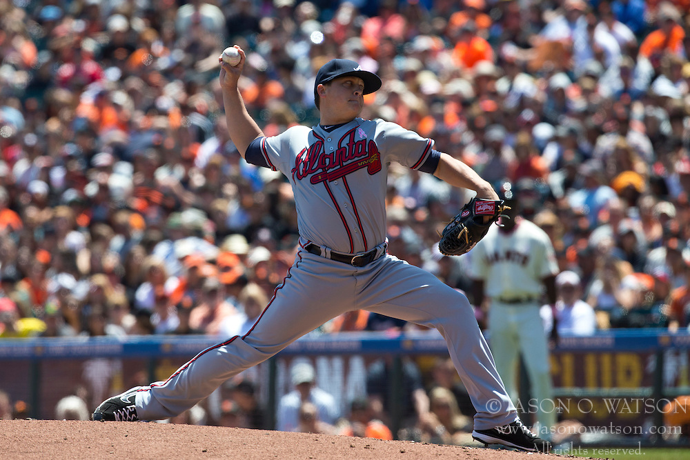 SAN FRANCISCO, CA - MAY 12: Kris Medlen #54 of the Atlanta Braves pitches against the San Francisco Giants during the first inning at AT&T Park on May 12, 2013 in San Francisco, California. The San Francisco Giants defeated the Atlanta Braves 5-1. (Photo by Jason O. Watson/Getty Images) *** Local Caption *** Kris Medlen