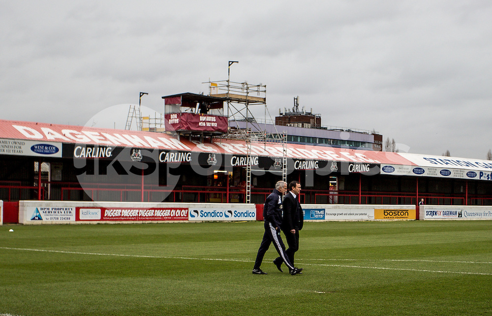 Derek Adams Manager of Plymouth Argyle inspects the pitch prior to the Sky Bet League 2 match between Dagenham and Redbridge and Plymouth Argyle at the Chigwell Construction Stadium, Dagenham, England on the 28th November 2015. Photo by Liam McAvoy.