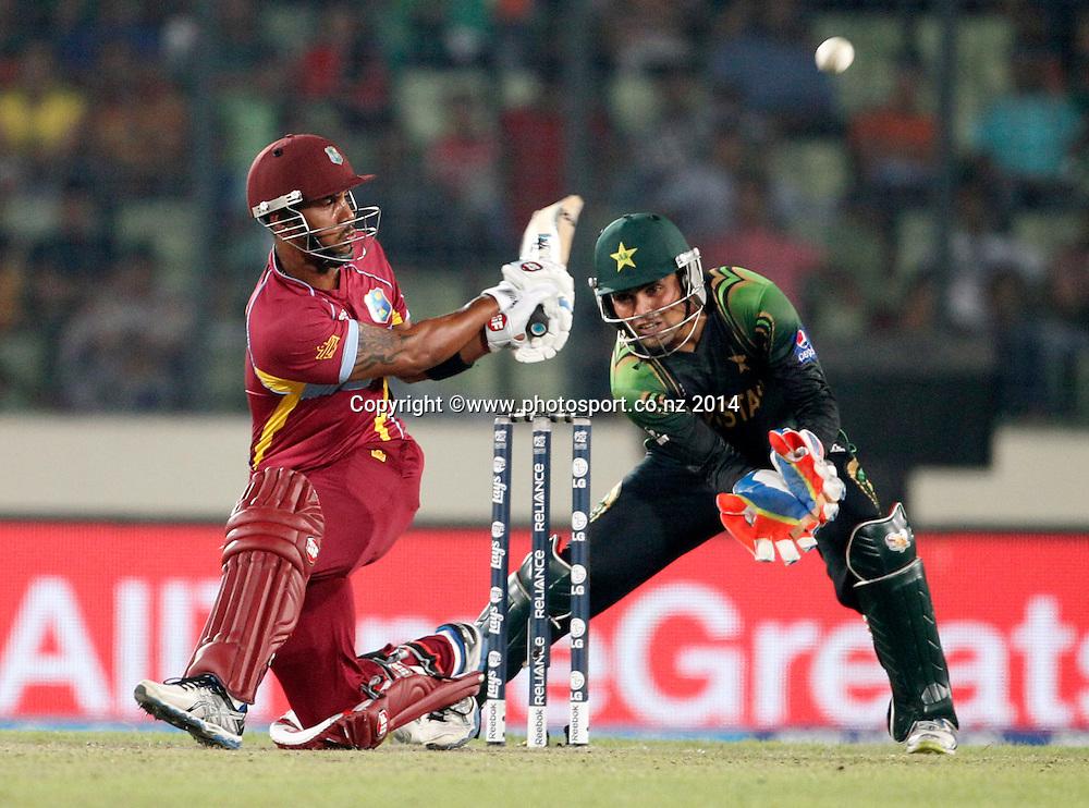 Lendi Simmons batting - Pakistan v West Indies, Shere Bangla National Stadium, Mirpur, Bangladesh. 1 April 2014. Photo: www.photosport.co.nz