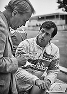 American F1 rookie race driver Danny Sullivan, driving for the Benetton Team Tyrrell&ndash;Ford team at the 1983 Detroit Grand Prix, discusses his approach to the tight city course with American racing legend Dan Gurney. <br />