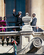 Nelson Mandela, F.W de Klerk  and Archbishop Desmond Tutu in Cape Town, South Africa, celebrate Mandela&rsquo;s 1994 presidential victory from a balcony of the City Hall.<br /> <br /> Photograph &copy; nic bothma