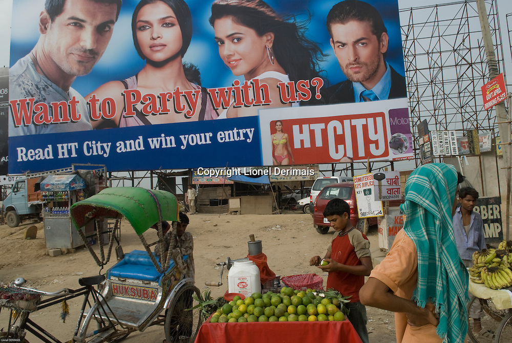Advertising for the Hindustan Times in Gurgaon, New Delhi's new CBD, an hour South of the city.