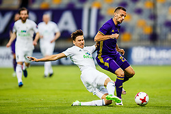 Jasmin Mesanovic #27 of NK Maribor and Bergsveinn Olafsson #5 of FH Hafnarfjrdur during match round 3 qualifications for UEFA Champions League between NK Maribor and FH Hafnarfjordur on 26th of July, 2017, Ljudski vrt, Maribor, Slovenia. Photo by Grega Valancic / Sportida