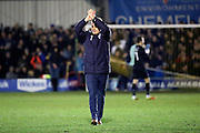 AFC Wimbledon manager Neal Ardley celebrating during the EFL Sky Bet League 1 match between AFC Wimbledon and Oxford United at the Cherry Red Records Stadium, Kingston, England on 14 January 2017. Photo by Matthew Redman.
