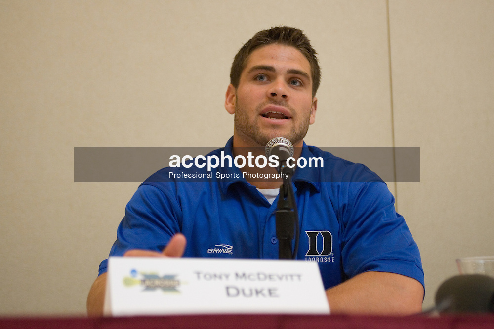 27 May 2007: Duke Blue Devils defenseman Tony McDevitt (44) in a press conference, a day before the NCAA lacrosse championship, at the Baltimore Marriott Waterfront in Baltimore, MD.