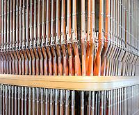 """""""Musket Organ"""" display of Springfield Rifles at Springfield Armory, Springfield, MA"""