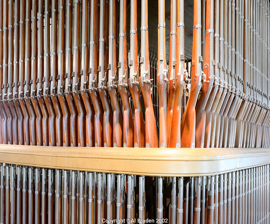 """Musket Organ"" display of Springfield Rifles at Springfield Armory, Springfield, MA"