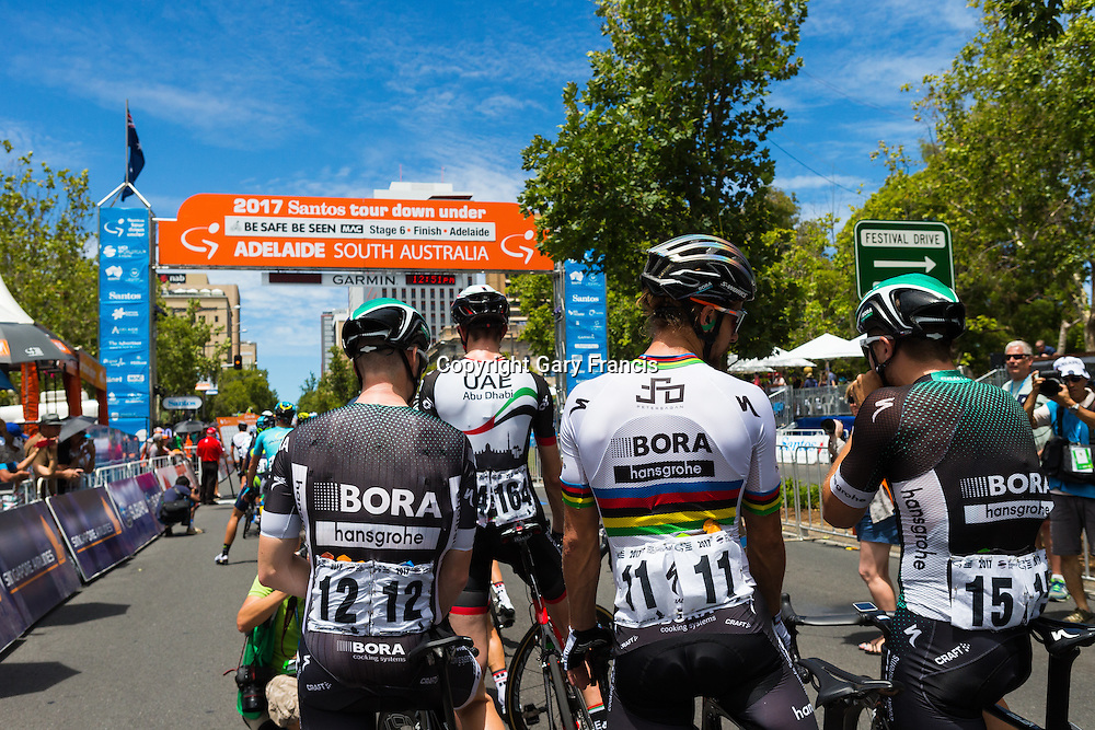 Peter Sagan (C), Bora Hansgrohe, at the start of Stage 6 of the Tour Down Under, Australia on the 22 of January 2017 ( Credit Image: © Gary Francis / ZUMA WIRE SERVICE )