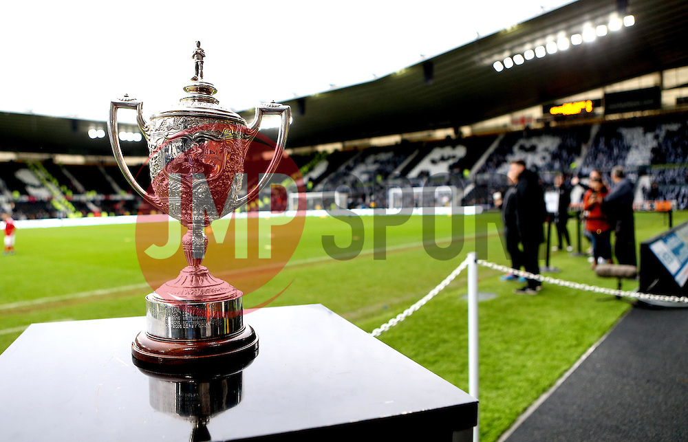 The Brian Clough Trophy stands proudly at The iPro Stadium ahead of Derby County v Nottingham Forest in the Sky Bet Championship - Mandatory by-line: Robbie Stephenson/JMP - 11/12/2016 - FOOTBALL - iPro Stadium - Derby, England - Derby County v Nottingham Forest - Sky Bet Championship