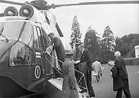 IND95225<br /> <br /> American President John Fitzgerald Kennedy (J.F.K)'s visit to Ireland, June 1963.<br /> Boarding a presidential helicopter.<br /> (Part of the Independent Newspapers Ireland/NLI collection.)