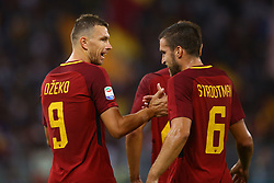 August 26, 2017 - Rome, Italy - Edin Dzeko of Roma and Kevin Strootman of Roma  celebrating after the goal of 1-0 at Olimpico Stadium in Rome, Italy on August 26, 2017during the Serie A match between AS Roma and FC Internazionale on August 26, 2017 in Rome, Italy. (Credit Image: © Matteo Ciambelli/NurPhoto via ZUMA Press)