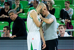 Boban Tomic of Petrol Olimpija injured during basketball match between KK Petrol Olimpija and KK Rogaska in Round #5 of Liga Nova KBM za prvaka 2018/19, on March 31, 2019, in Arena Stozice, Ljubljana, Slovenia. Photo by Vid Ponikvar / Sportida