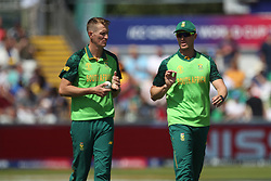 June 28, 2019 - Chester Le Street, County Durham, United Kingdom - South Africa's Chris Morris (L) and Faf du Plessis during the ICC Cricket World Cup 2019 match between Sri Lanka and South Africa at Emirates Riverside, Chester le Street on Friday 28th June 2019. (Credit Image: © Mi News/NurPhoto via ZUMA Press)