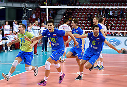 Klemen Cebulj #18, Jani Kovacic #13, Mitja Gasparini #6, Danijel Koncilja #11, Tine Urnaut #17 during volleyball match between National teams of Poland and Slovenia in Quarterfinals of 2015 CEV Volleyball European Championship - Men, on October 14, 2015 in Arena Armeec, Sofia, Bulgaria. Photo by Ronald Hoogendoorn / Sportida