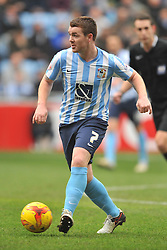 ADAM ARMSTRONG COVENTRY CITY, BATTLES WITH FLEETWOODS VICTOR NIRENNOLD, JOHN FLECK COVENTRY CITY, Coventry City v Fleetwood Town Ricoh Arena, Sky Bet League One Saturday 27th February 2016